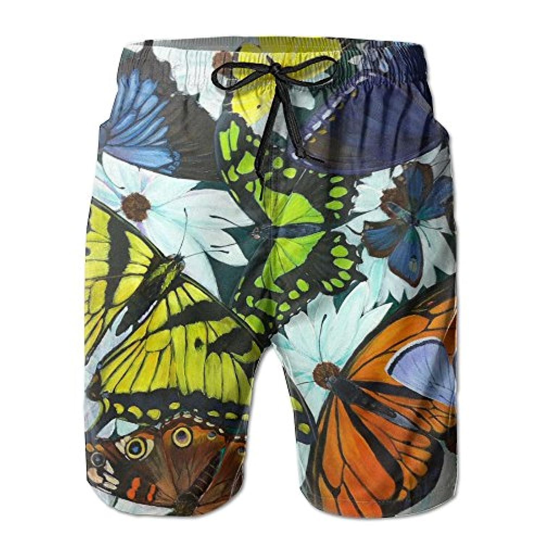 メンズ ビーチショーツ 水着 カラフル蝴蝶 ショートパンツ サーフトランクス スイムショーツ インナーメッシュ付き 通気 速乾
