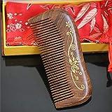 白檀の毛の櫛 - 様々なスタイルはギフト用の箱と、頭髪のための密な歯の櫛の帯電防止ヘアブラシを握り モデリングツール (Design : I)