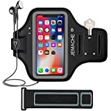 """iPhone X/XS Armband, JEMACHE Water Resistant Gym Running Workout Exercise Sport Arm Band for iPhone X/XS (5.8"""") with Card Holder (Black)"""