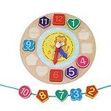 BEE&BLUE 子供 キッズ おもちゃ 脳力鍛錬 知育玩具 時計 木製 数字 (ライオン)