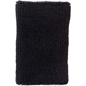 リストバンド ニットパイル 12cm ブラック 2個組 359