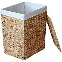 籐付きラタンランドリーバスケットコットンライニング家庭汚れたハンパー服雑貨保管バスケット (サイズ さいず : 41 * 31 * 50cm)