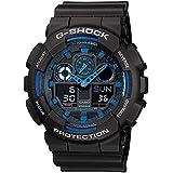 Casio G-Shock Analogue/Digital Mens Black/Blue XL Series Watch GA-100-1A2 GA-100-1A2DR