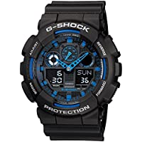 Casio G-Shock Analogue/Digital Mens Black/Blue XL Series Watch GA-100-1A2 GA-100-1A2DR