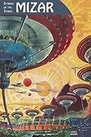 フローティング地のMizar byレトロSF SFスペースヴィンテージ印刷ポスター20x 30