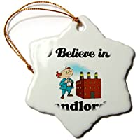 3drose Dooni Designs I Believe In–I Believe In Landlords–Ornaments 3 inch Snowflake Porcelain Ornament orn_105243_1