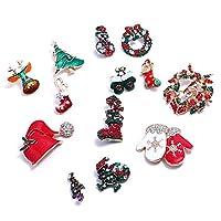 TITOTO ブローチピンブローチ女性ブローチクリスマスブローチクリスマスシリーズマイクロチャプター服アクセサリーワンパック13セットファッションシンプル