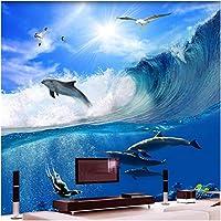 Xbwy 海波イルカ写真壁画壁紙リビングルームテレビソファ家の装飾-200X140Cm