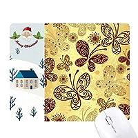 黄色の蝶の壁紙 サンタクロース家屋ゴムのマウスパッド
