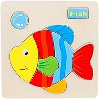 Jigsaw Puzzlesおもちゃvibola 3d木製動物パズル教育Developmental Baby子供用トレーニングおもちゃ Size: 14.7 * 14.7* 0.5CM Vibola®25
