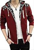 【Wild Cats】メンズ アウター 春ジャケット フード 英字 スリム 秋 ライトアウター カジュアル 袖 ポケット ジップ かっこいい エコバッグ付き