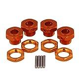 Mxfans 4個入れ オレンジ アルミ合金 アップグレードパーツ Hex Wheel Hubs Nuts Pins Set Screws RC 1:8オンロードカー 大足車 オフロード車のため T10093