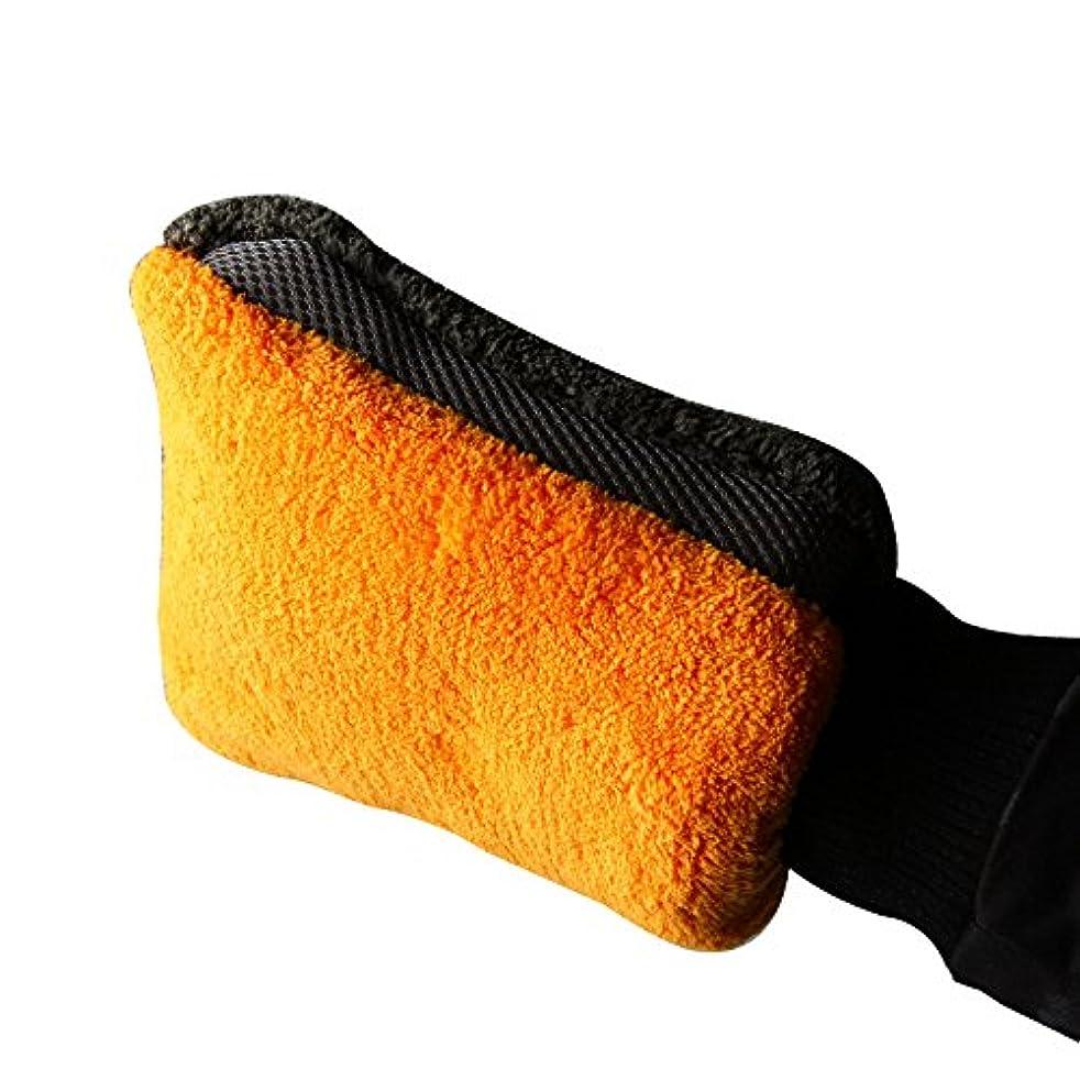 BTXXYJP サンゴフリース 洗車 ブラシ 手袋 クリーニング ミットショートウールミットカークロス (Color : Orange, Size : L-One pair)