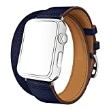 Watch バンド ドゥブルトゥール SUNKONG® レザーストラップ 本革 二重巻き Apple Watch 対応 バンド 4色選べる(42mm, ブルー・サフィール)