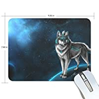 Anmumi マウスパッド 滑り止め オオカミ 動物柄 月 19×25×0.5cm ゲームに適用 かわいい オシャレ レディース メンズ 子供 ゴム 実用性 パソコン対応