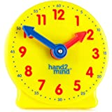 """hand2mind Geared Clock to Learn to Tell Time, 4"""" Demonstration Clocks (Bulk Classroom Pack of 12)"""