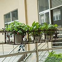植物のスタンドの鉄アームレストの花のスタンドバルコニーの手すりハンギング植物の花のスタンドウォールポットラックハンガー (色 : Brown, サイズ さいず : 120*21*20cm)