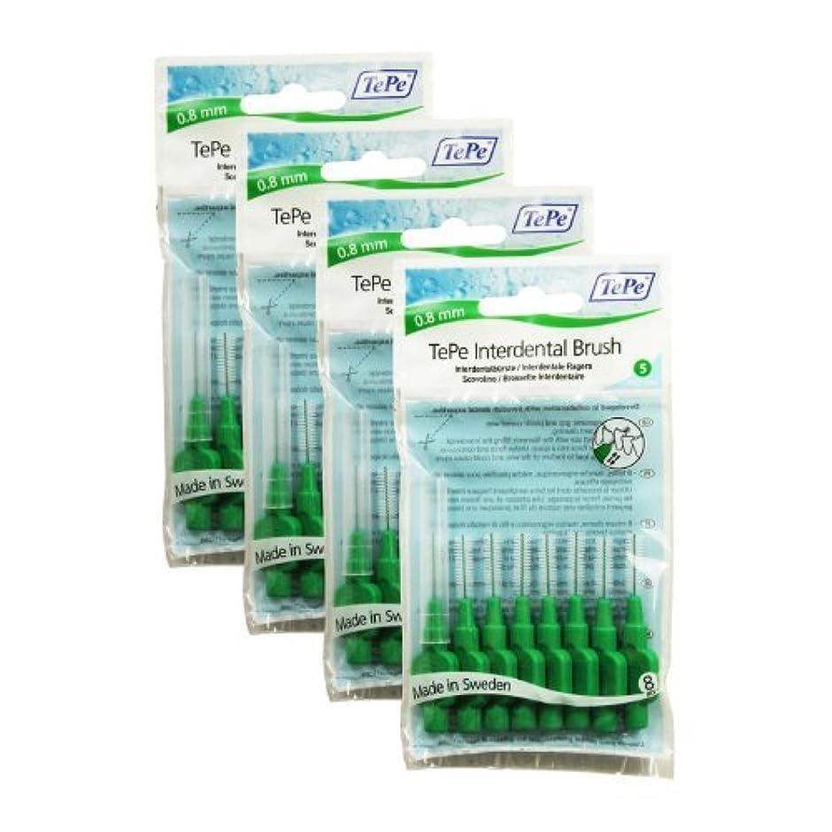 突然グラマーデクリメントTePe Interdental Brushes 0.8mm Green - 4 Packets of 8 (32 Brushes) by TePe