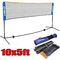 Yaheetech 10 x 5 ftプロフェッショナルバドミントンNet with adjustable polesスタンドとポータブルキャリーバッグforインドア/アウトドアTraning / Match