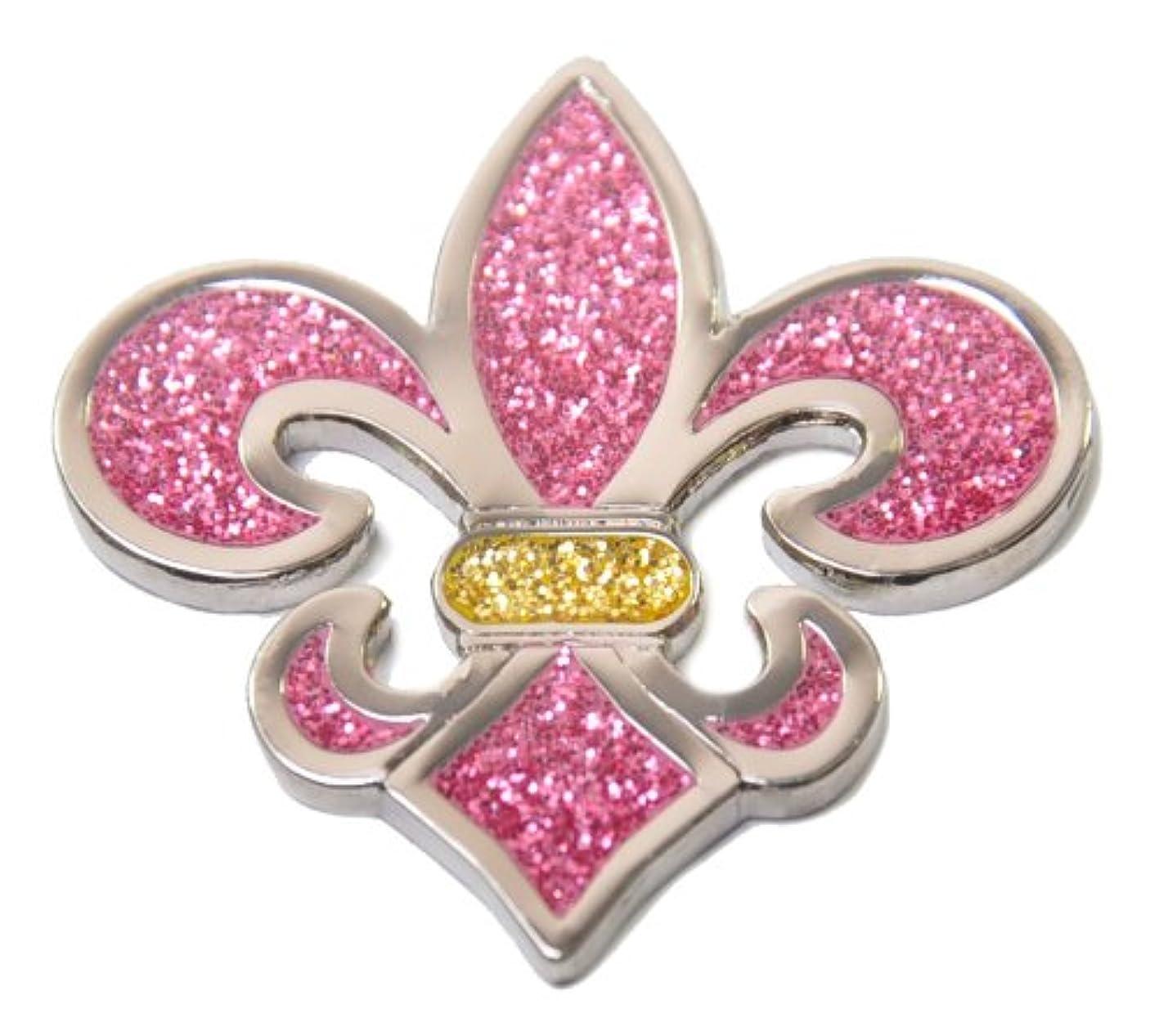 脈拍対話負荷(Pink/Gold) - Navika Fleur De Lis Pink Glitzy Golf Ball Marker With Hat Clip
