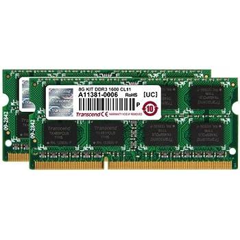Transcend ノートPC用メモリ PC3-12800 DDR3 1600 8GB 1.5V 204pin SO-DIMM Kit (4GB×2pcs) (無期限保証) JM1600KSN-8GK