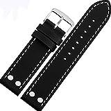 腕時計ベルト 時計バンド20mm 本革 レザー 汎用ベルト 適用HAMILTON ハミルトン、カーキ フィールド デイデイト (ブラック)