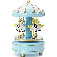 MDグループ音楽ボックス回転木馬カルーセルブルー色ギフト装飾玩具
