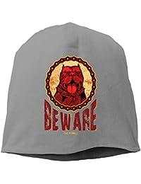 【Dera Princess】ユニセックス ニット帽 BEWARE THE PITBULLロゴ コットン ニットキャップ 帽子 オールシーズン 被れる