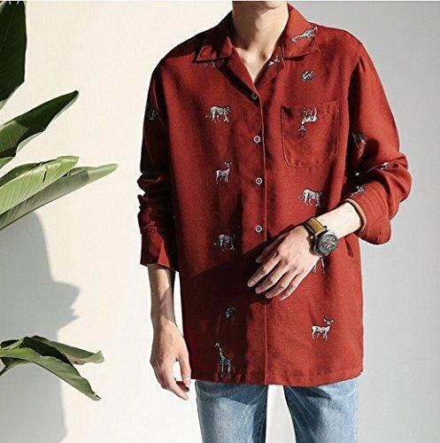 アニマル 刺繍 シャツ オープンカラーシャツ ワイシャツ 襟付き 開襟シャツ(L, ボルドー)