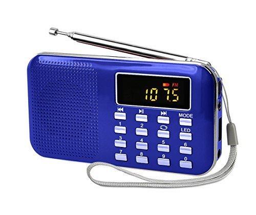 LEFON 充電式 多機能 AM FMポケットラジオ USB.microSDカード対応 MP3プレーヤー LEDライト ポータブルラジオ (青い)