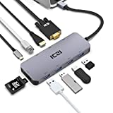 ICZI usb type c ハブ hdmi vga SD TFカードリーダー LANポート(1000Mbps) USB PD対応 MacBook/MacBook Pro/Dell XPS/Google Chromebook/HP Spectre対応 多機能 USB Cアダプタ10-in-1