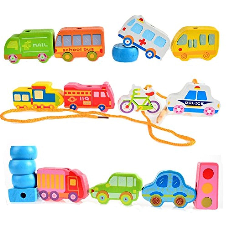 赤ちゃん木製文字列ラインビーズCity Trafficアルファベット番号Garden Building Blocks Toy