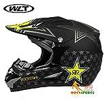 バイクヘルメット オフロード 軽量ヘルメット モンスターエナジー ゴーグル付き[星・黒(艶消し)/M]