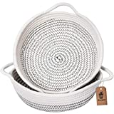 """Goodpick 2pack Small Basket - 9.8"""" x 8.7"""" x 2.8"""" Cotton Rope Woven Basket for Keys, Sunglasses, Wallet by Front Door - Cute Basket for Remote, Controls, Phone on Nightstand - Fruit Basket in Kitchen"""