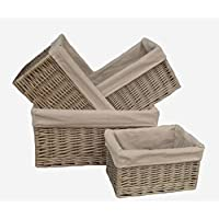 Antique Wash Lined Open Wicker Storage Baskets Set of 4 by Red Hamper