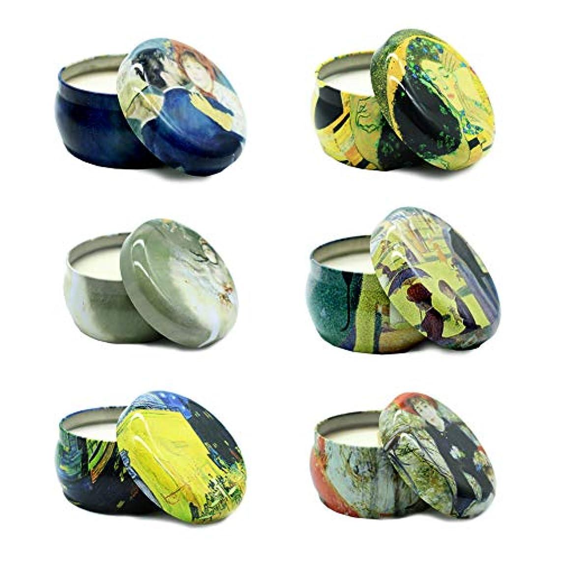 組立調停する崖【AROMA COMPANY】airla SOY TIN CANDLE エアラソイティンキャンドル アロマキャンドル 名画 ろうそく 室内 香り (6種セット)