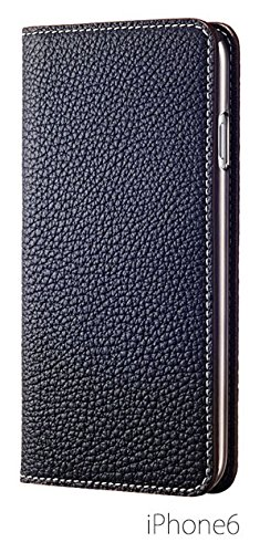 BONAVENTURA ボナベンチュラ iPhone6ケース (4.7インチ) ドイツ製本革 牛革 レザー アイフォンケース (ネイビー) パッケージ箱あり German leather diary type iPhone case
