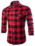 メンズスタイリッシュなスリム長袖チェック柄シャツ2つポケットカジュアルボタンダウンシャツ カラー: レッド