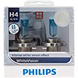 Philips White Vision H4 12V globes - twin display pack