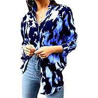 Macondoo Women Plus Size Long Sleeve Tie Dye Casual Print Button Front Shirts