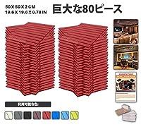 エースパンチ 新しい 80ピースセット赤い 500 x 500 x 20 mm フラットウェッジ 東京防音 ポリウレタン 吸音材 アコースティックフォーム AP1035