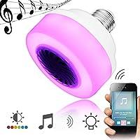 ZHENWOFC E27 5W LEDワイヤレスBluetooth RGB音楽スピーカーステージ電球AC100-240V