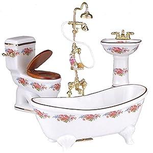 【ロイターポーセリン】【ミニチュア】 バスルーム3点セット ドレスデンローズ スタンドシャワー付き RP1770-3