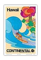 ハワイ - コンチネンタル航空 - ハワイのサーファー - サイケデリックフラワーパワーアート - ビンテージな航空会社のポスター c.1960s - アートポスター - 23cm x 31cm