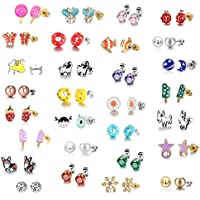 29 Pair Stainless Steel Gold Plated Mixed Color Cute Animal Food Dog Bone Popsicle Donut Star Ladybug CZ Faux Pearl Daisy Flower Devil Stud Earring Set for Girls Kids (29 Pairs-Donut Girl)
