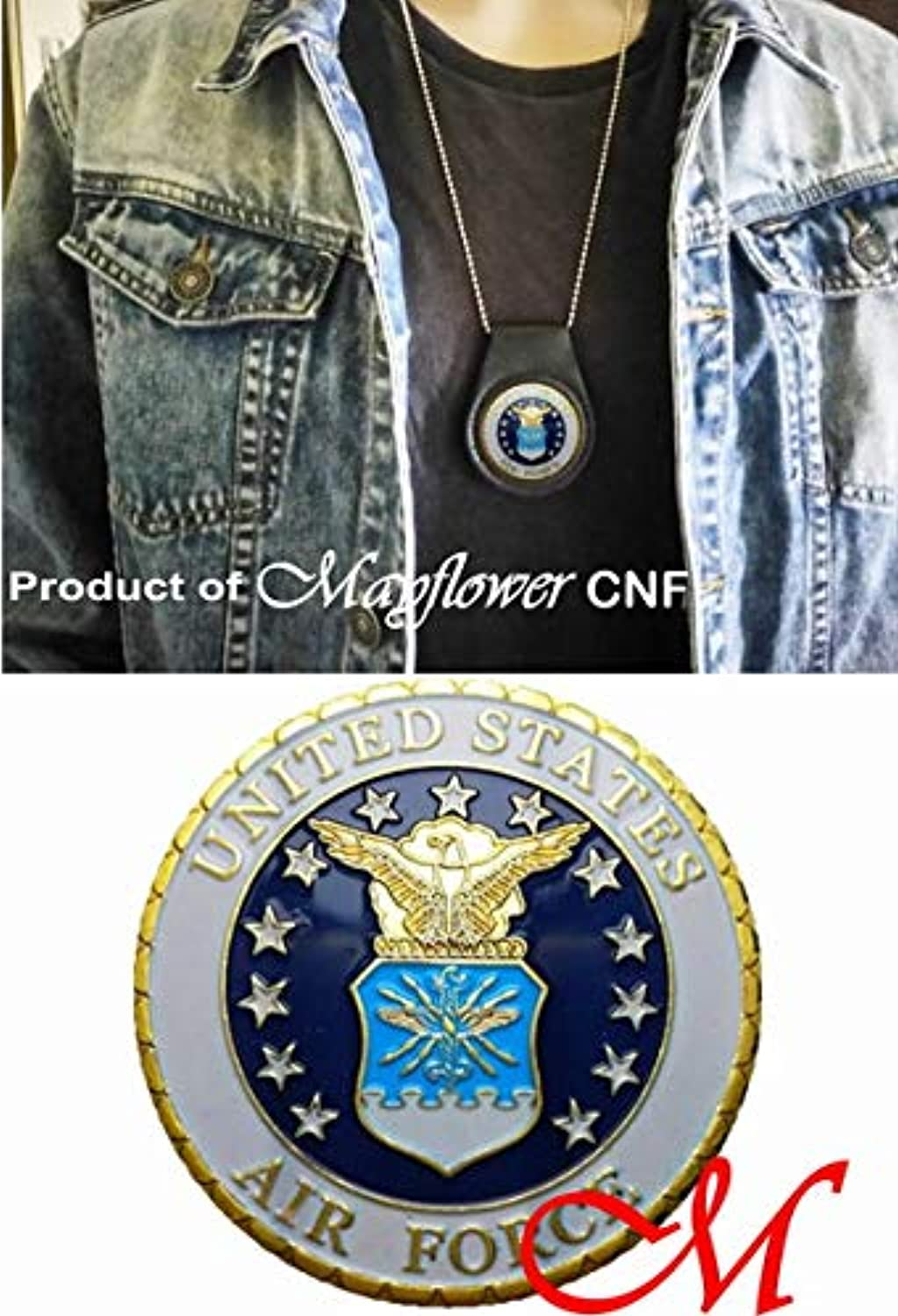 Mayflower CNFコイン&レザーホルダー – 米国空軍ゴールドc-130 Challenge Coin Rare – We The People of the United States、Salute to Our Heroes、Fight For Freedom 。