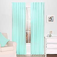 Mint Green Dot Print Blackout Window Drapery Panels - Two 84 by 42 Inch Panels by The Peanut Shell