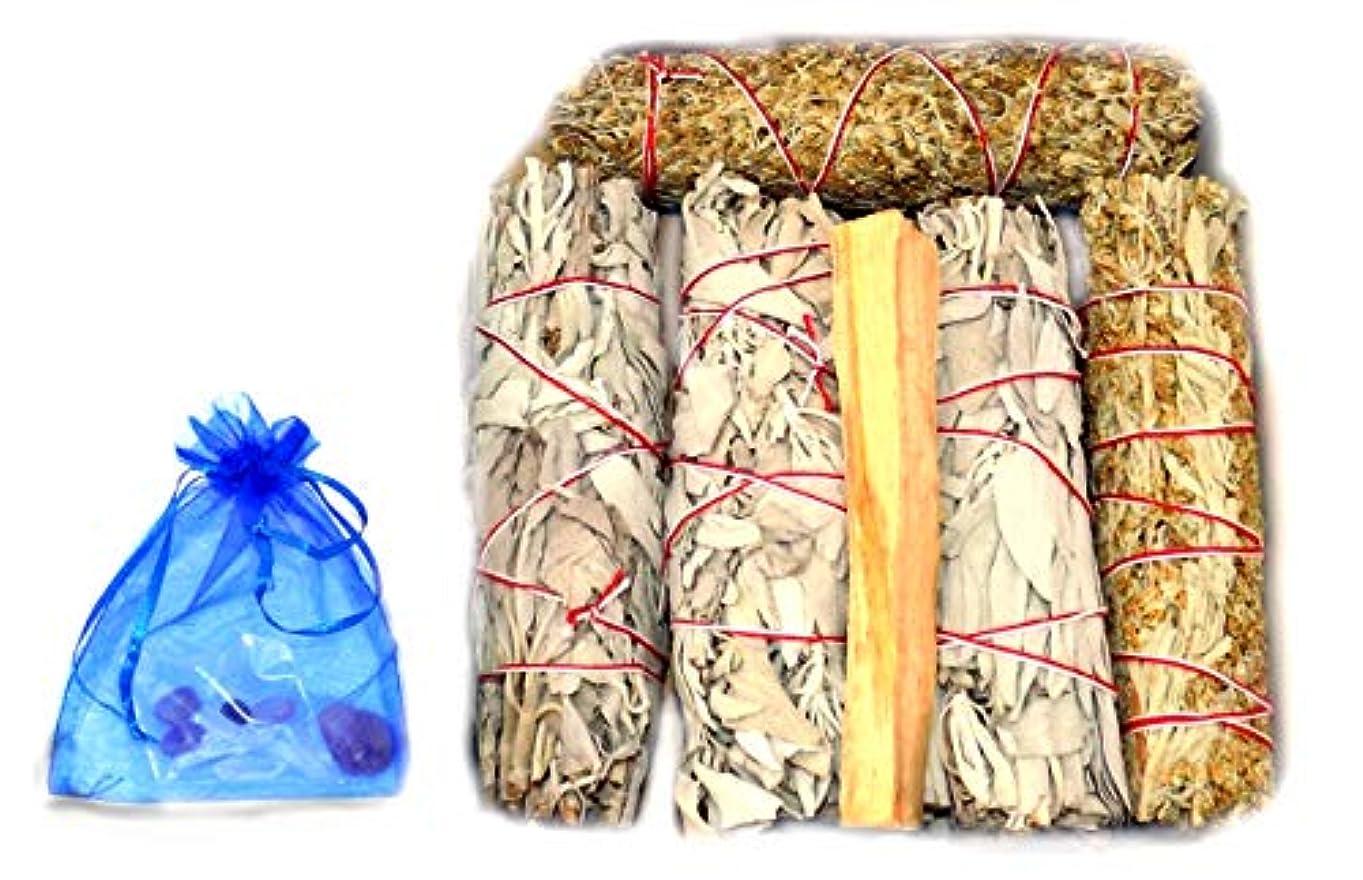 雰囲気章嵐Chakra Palace スマッジキット バラエティパック – ホワイトセージ3個 4+インチ ブルーセージスマッジ2個 4インチ パロサントスティック1個 3+インチ 説明書とクリスタル