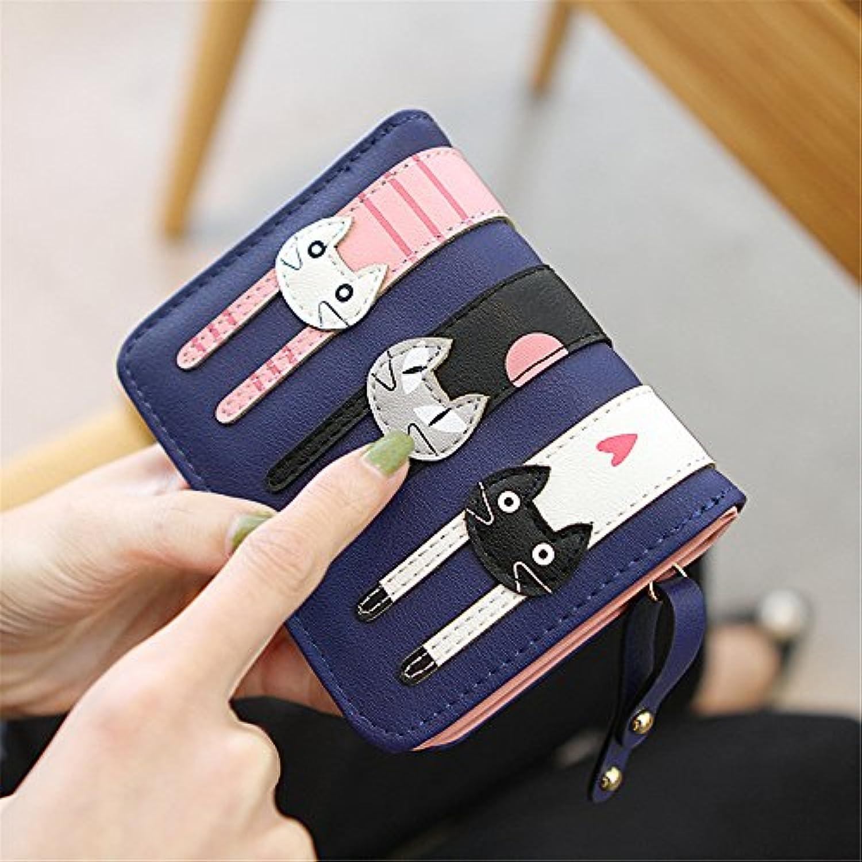 猫のステッチ写真の女性の短い財布 (濃紺)