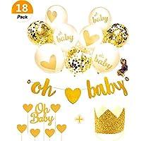 JeVenis 金色のバルーンパーティー 金色のキラキラした中性赤ちゃんがシャワーを浴びて飾りますベビーシャワーのベビーシャワーフラッグケーキカップの頂上 バルーンパーティーセット 【oh Baby】